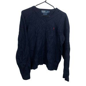 Polo Ralph Lauren Vintage Lambswool Sweater Mens Size M Blue Thrashed